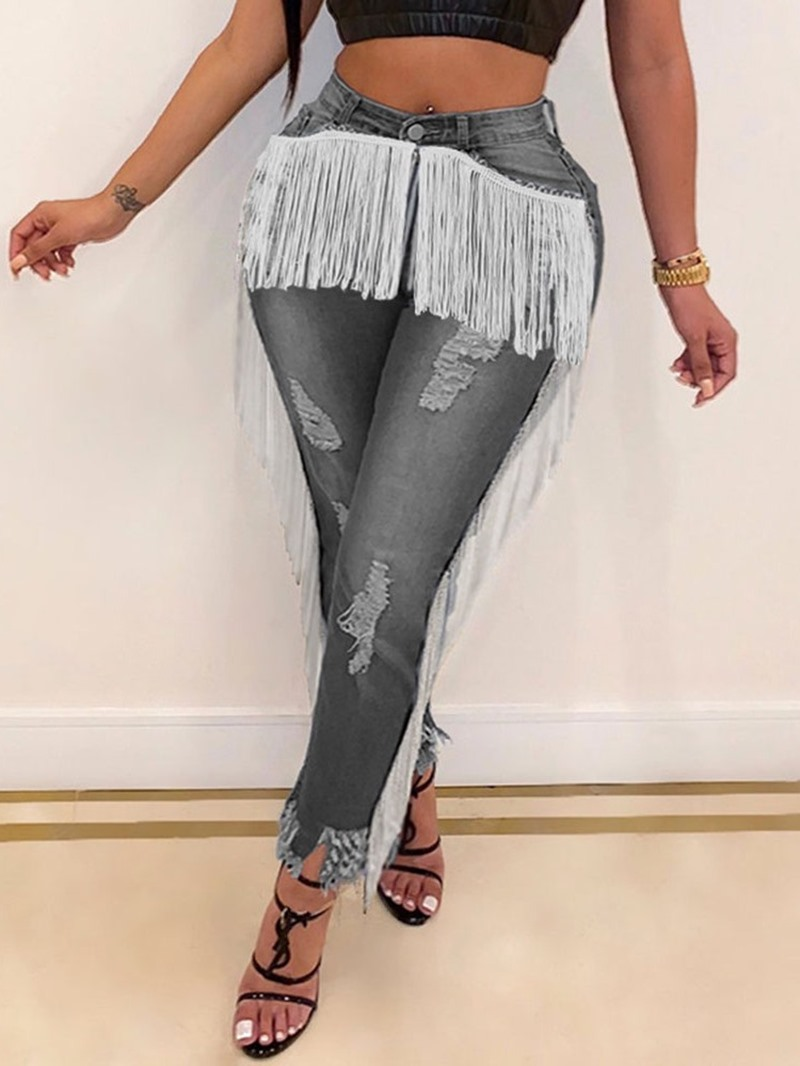Ericdress Pencil Pants Hole Skinny Jeans