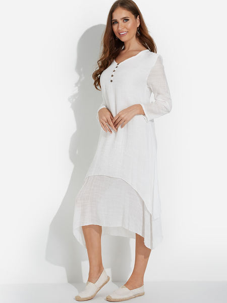 Yoins White Casual Button-down Irregular Layered Hem Maxi Dress
