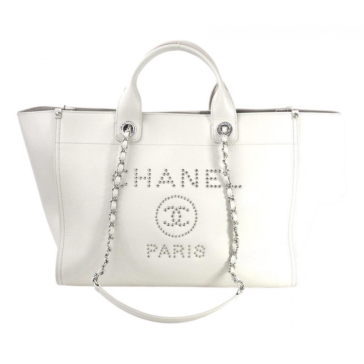 Chanel - Sac a main Deauville pour femme en cuir - blanc