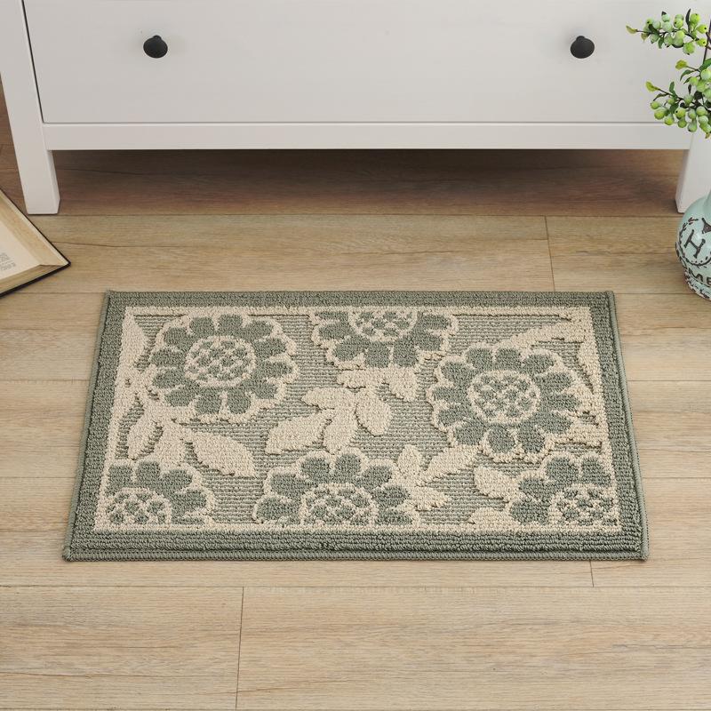 Amazing Rectangle Polypropylene Fiber Flower Pattern Flower Pattern Doormat