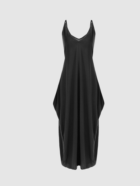 Yoins Black V-neck Cami Dress