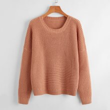 Solid Drop Shoulder Knit Sweater