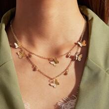 Halskette mit Schmetterling & Strass Anhaenger und zweischichtigen Ketten 1 Stueck