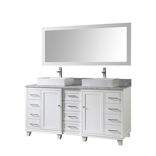 Ultimate Classic 72 In. Vanity In White With Carrara White Marble Vanity Top with vessel sinks and Mirror (White - Painted/Polished/Nickel Finish -