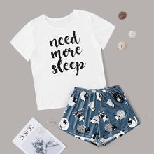 Conjunto de pijama con estampado de oveja de dibujos animados y slogan