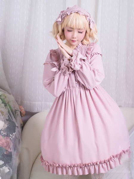 Milanoo Classic Lolita Dress OP Ruffle Bow Chiffon Pink Lolita One Piece Dress