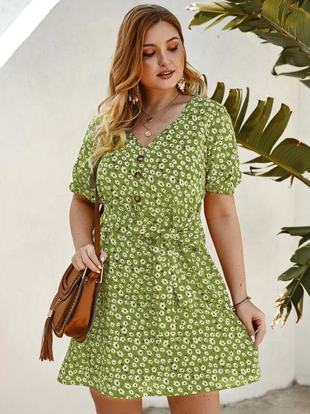 Yoins Plus Size Belt Design Calico V-neck Button Design Dress
