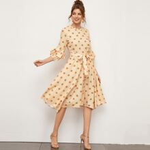 Belted Asymmetrical Hem Dress