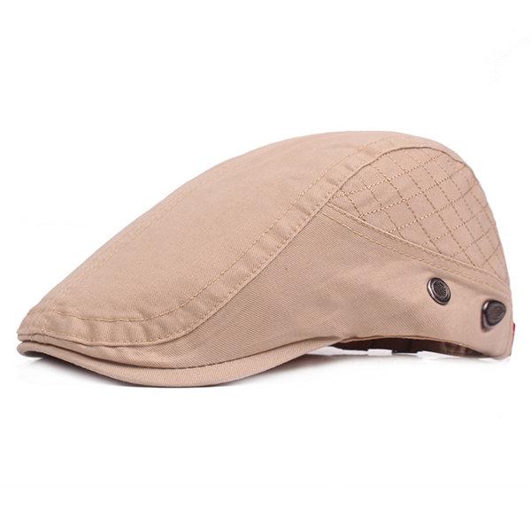Mens Cotton Solid Color Beret Cap Sunshade Hat Casual Outdoors Peaked Forward Cap Adjustable Hat
