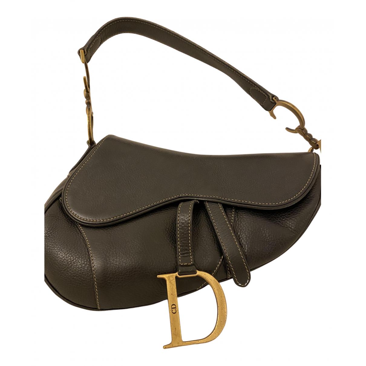 Dior Saddle Handtasche in  Schwarz Leder