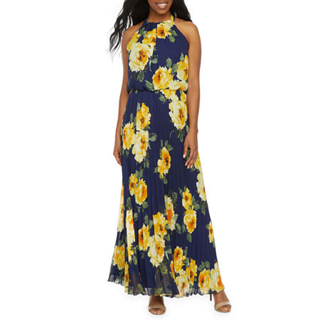Premier Amour Sleeveless Floral Maxi Dress, 6 , Blue