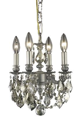 9104D10PW-GT/SS 9104 Lille Collection Hanging Fixture D10in H10in Lt: 4 Pewter Finish (Swarovski Strass/Elements Golden Teak