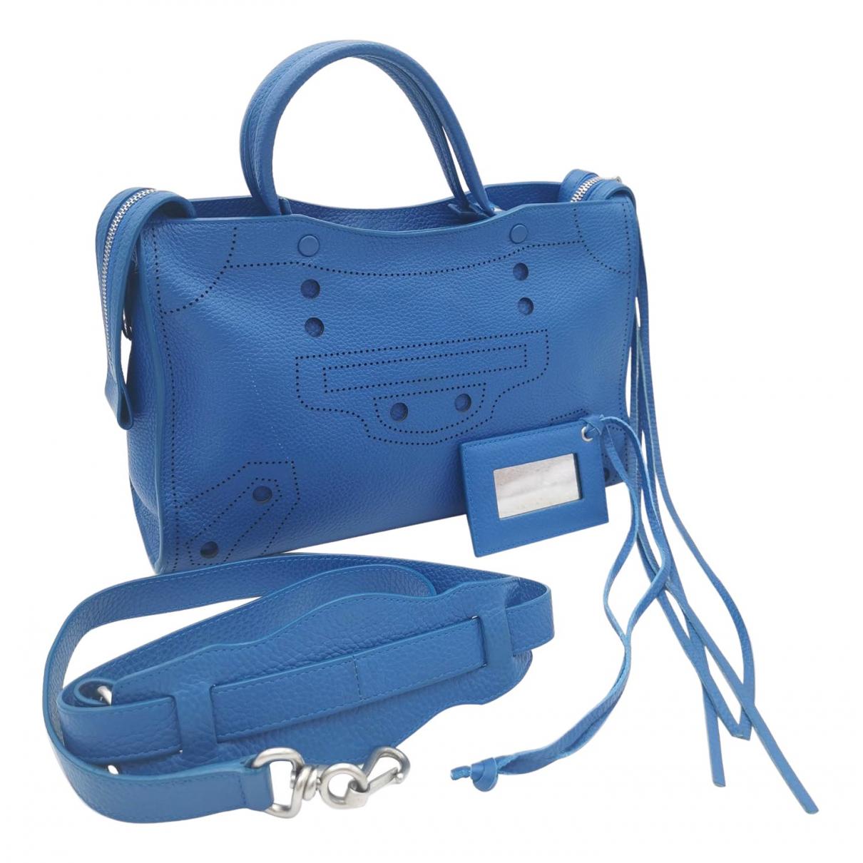 Balenciaga - Sac a main Blackout pour femme en cuir - bleu