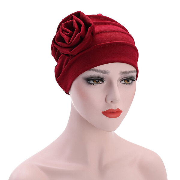 Women's Hats Side Large Flower Turban Beanies Cap Casual Warm Head Wrap Chemo Hats For Women