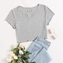 Notched Neck Ribbed Crop Top