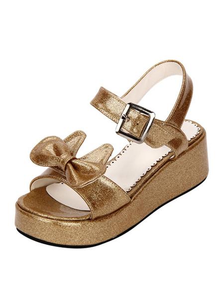 Milanoo Sweet Lolita Shoes Open Toe Wedge Heel Bows PU Flat White Lolita Sandals