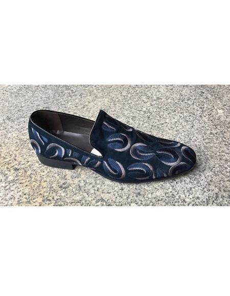 Men's Blue Cushioned Insole Unique Slip On Shoe