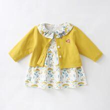 Kleid mit Blumen Muster, Puppe Kragen und Mantel