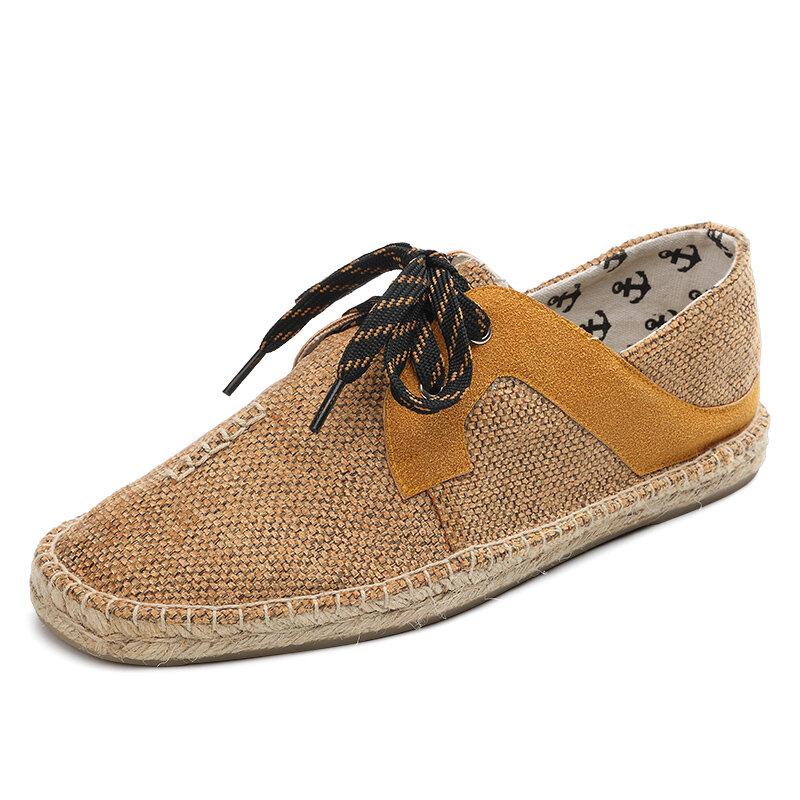 Men Lace Up Linen Breathable Round Toe Espadrilles Shoe