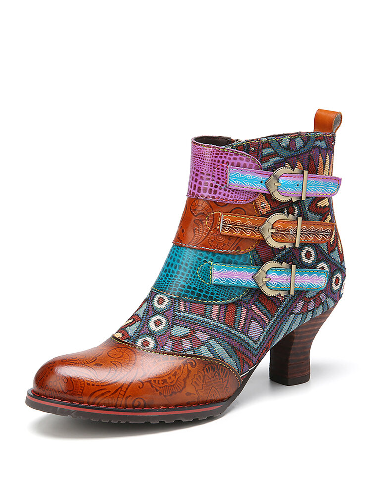SOCOFY Colorblock Printed Genuine Leather Splicing Comfy Zipper Wearable Ankle Boots