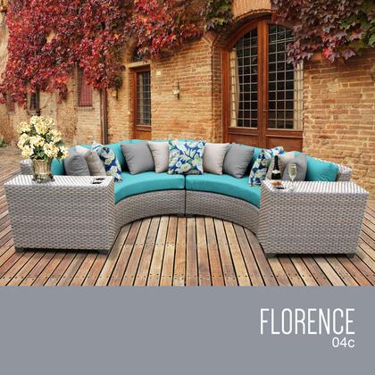 FLORENCE-04c-ARUBA Florence 4 Piece Outdoor Wicker Patio Furniture Set 04c with 2 Covers: Grey and