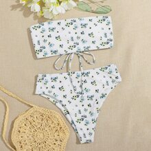 Bandeau Bikini Badeanzug mit Bluemchen Muster und hoher Taille