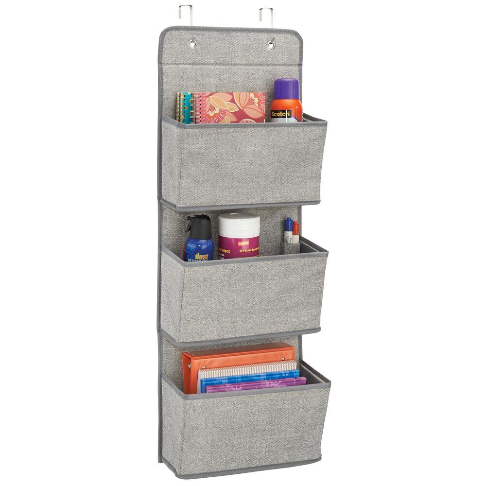 3 Pocket Over Door Fabric Hanging Desk Organizer in Gray, 13