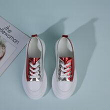 Metallic Color Block Chunky Skate Shoes