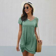 T-Shirt Kleid mit V Kragen, Space Dye und Twist