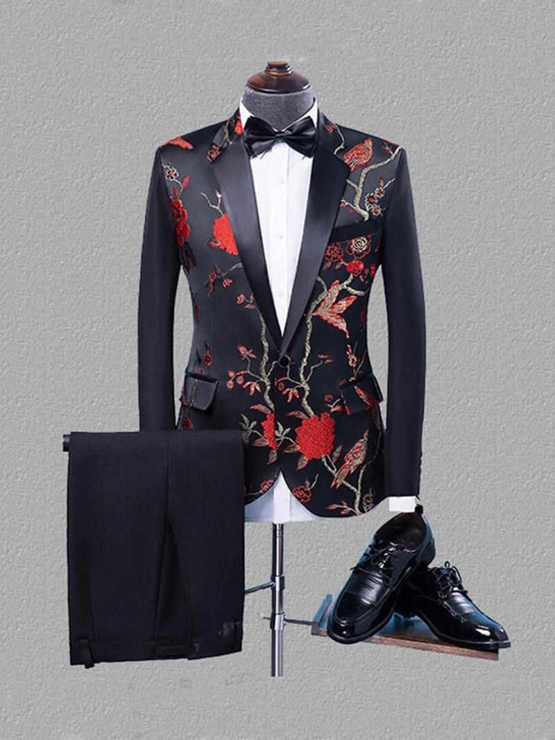 Ericdress Color Block Pants Button Men's Dress Suit