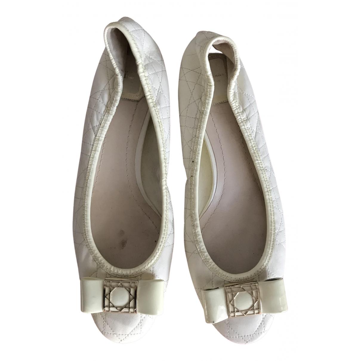Dior \N Ballerinas in  Weiss Leder