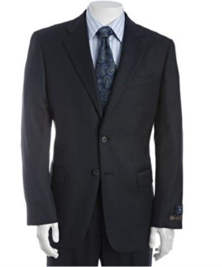 2 Button Navy Birdseye Wool Suit with Single Pleated Pants Mens