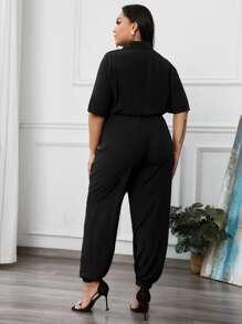 Plus Flap Detail Drawstring Waist Shirt Jumpsuit