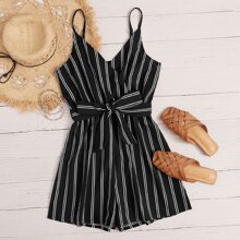 Vertical Striped Surplice Front Belted Cami Romper