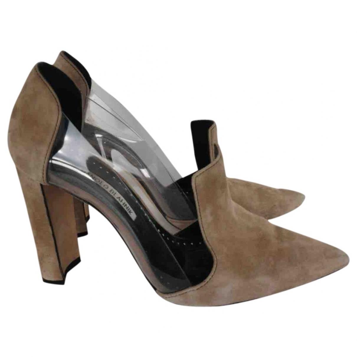 Manolo Blahnik - Boots   pour femme en suede - gris