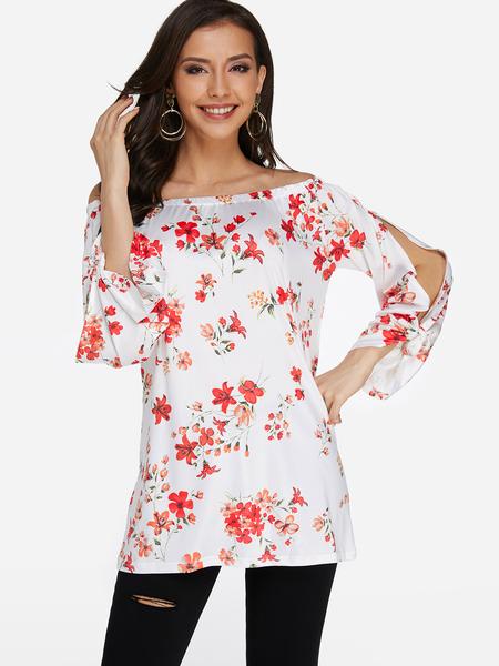Yoins White Floral Print Cut Out Fashion Blouse