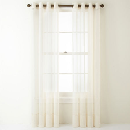 Home Expressions Lisette Sheer Grommet-Top Single Curtain Panel, One Size , White