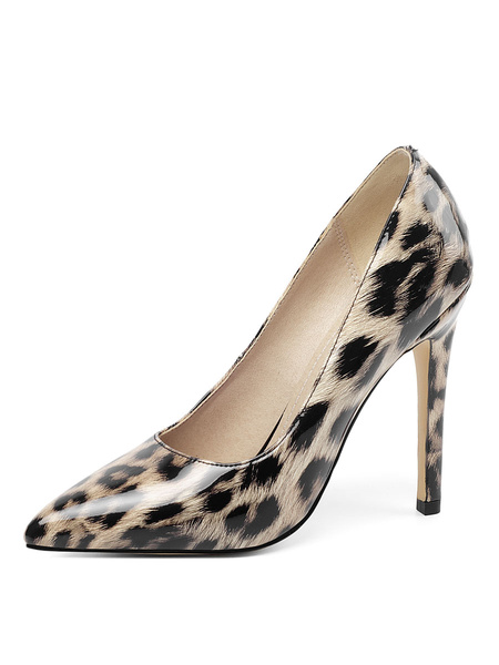 Milanoo Leopard Print Heels Patent Pointed Toe Stiletto Heel Pumps