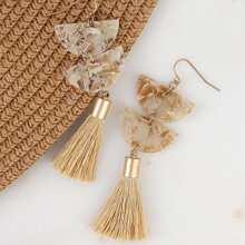 Marble Detail Tassel Earrings