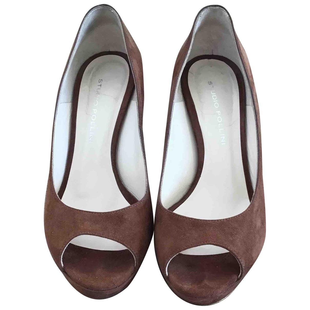 Pollini - Escarpins   pour femme en cuir - marron