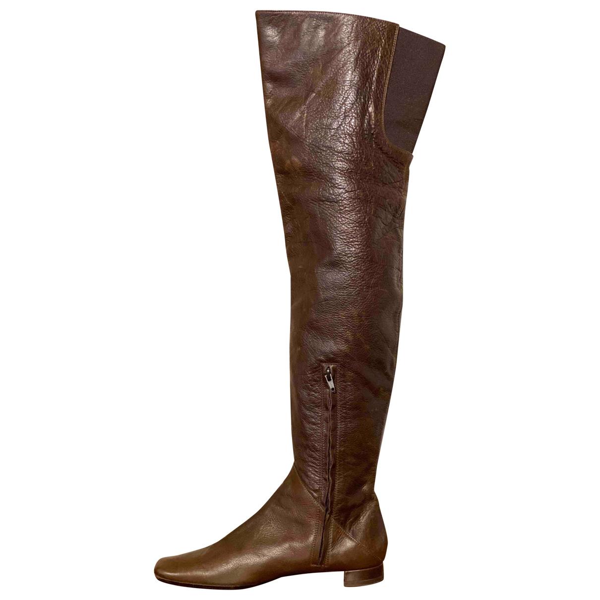 Marni - Bottes   pour femme en cuir - marron