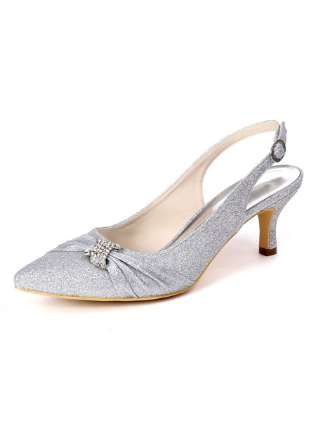 Milanoo Wedding Shoes Sequined Cloth White Pointed Toe Buckle Kitten Heel Shoes