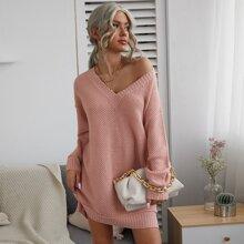 Solid Drop Shoulder V-neck Sweater Dress