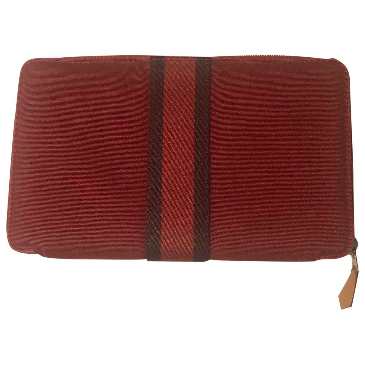 Hermes - Portefeuille   pour femme en coton - rouge