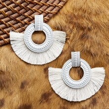 Textured Circle Earrings With Half Fringe Detail