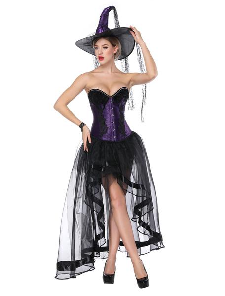 Milanoo Halloween Costume Gothic Purple Women Asymmetrical Skirt And Corset Cincher