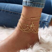 Star & Rhinestone Tassel Decor Chain Anklet 3pcs
