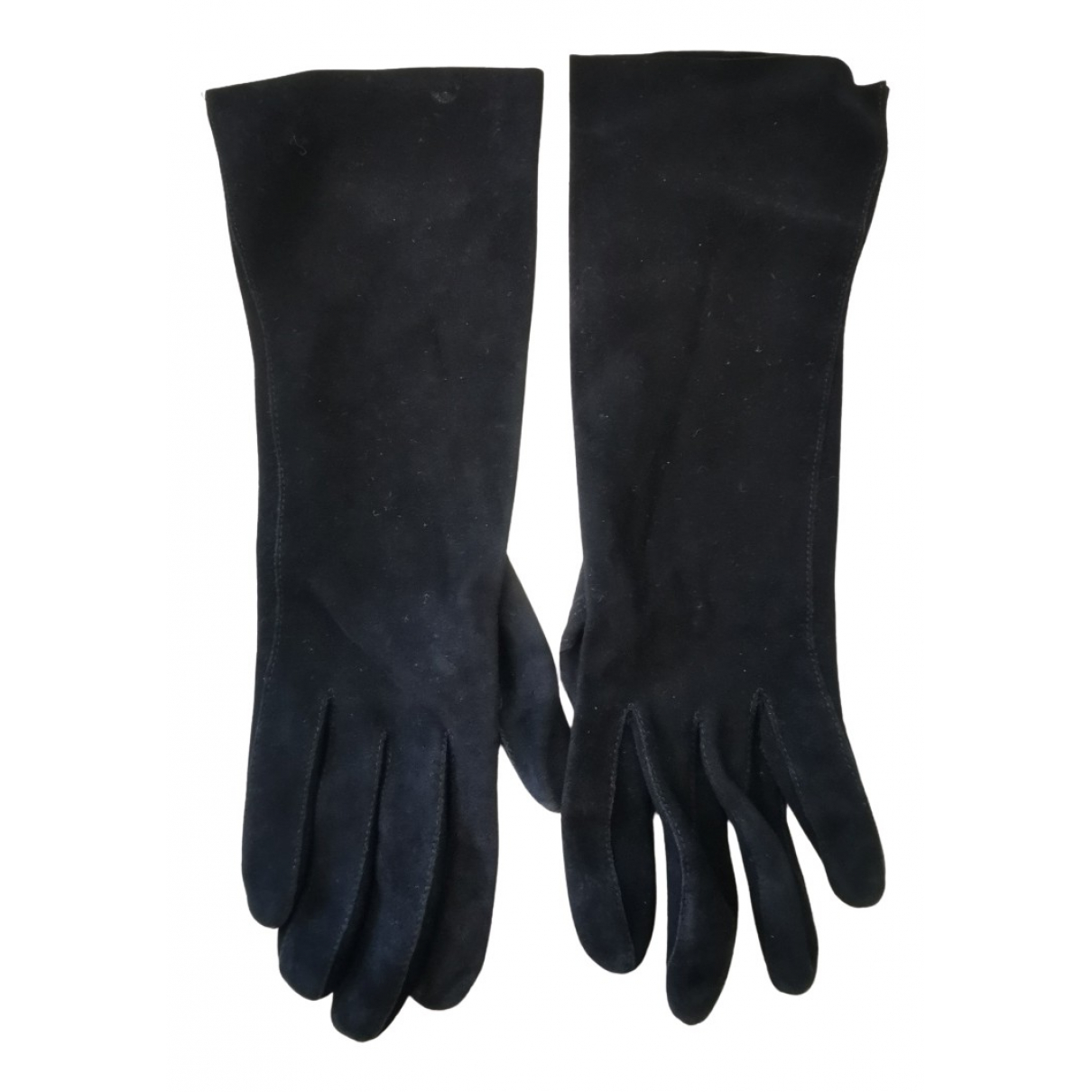 Non Signé / Unsigned N Black Leather Gloves for Women 6.5 Inches