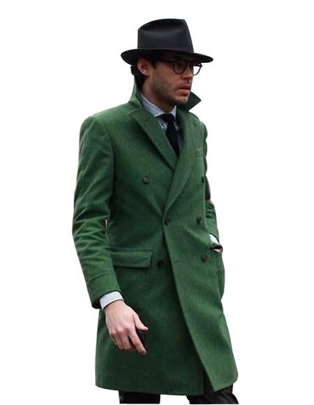 Mens Double Breasted Long Overcoat Olive Green