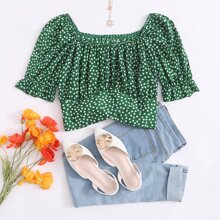 Blusas Drapeado floral de margarita Verde Bohemio